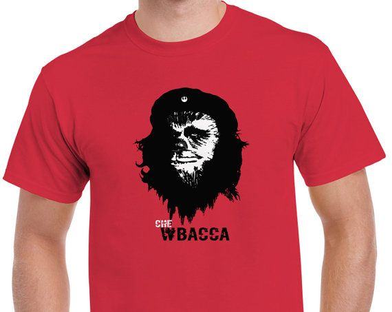 Mens Star Wars Chewbacca Che Guevara Parody Red Graphic T-shirt Tee • Sizes S - 5XL