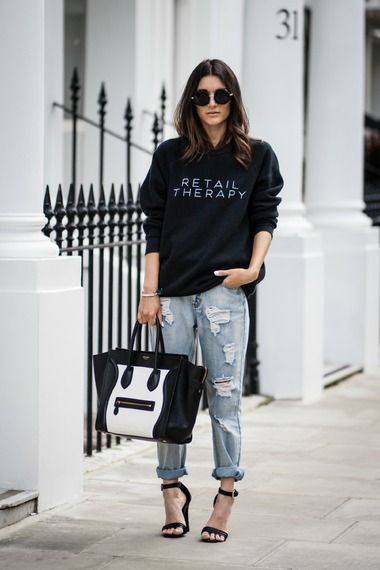 celine luggage tote shop online - Anisa Sojka wearing black ILY Couture 'Retail Therapy' sweatshirt ...