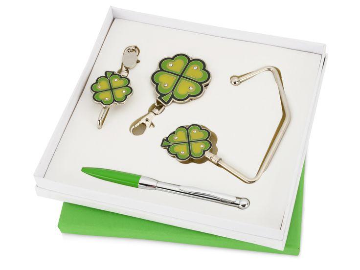 """Подарочный набор """"Дамское счастье"""" Оригинальный набор с изображением четырехлистного клевера принесет удачу и станет приятным подарком для милых дам. Набор состоит из удобной шариковой ручки, складного и обычного крючка для сумки, крючка для ключей."""