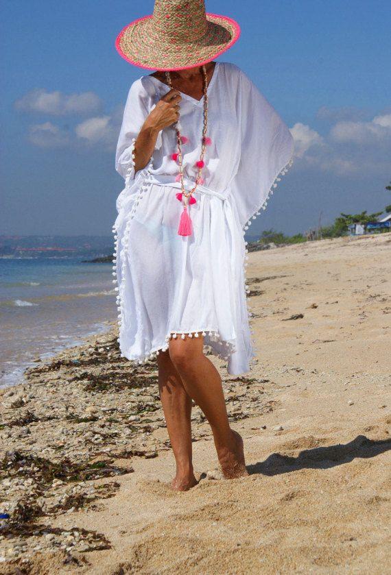Pompom Dress/Beach pompom dress/Trendy Summer pompom dress/Bohemian Pompom Dress * MARISA POMPOM DRESS