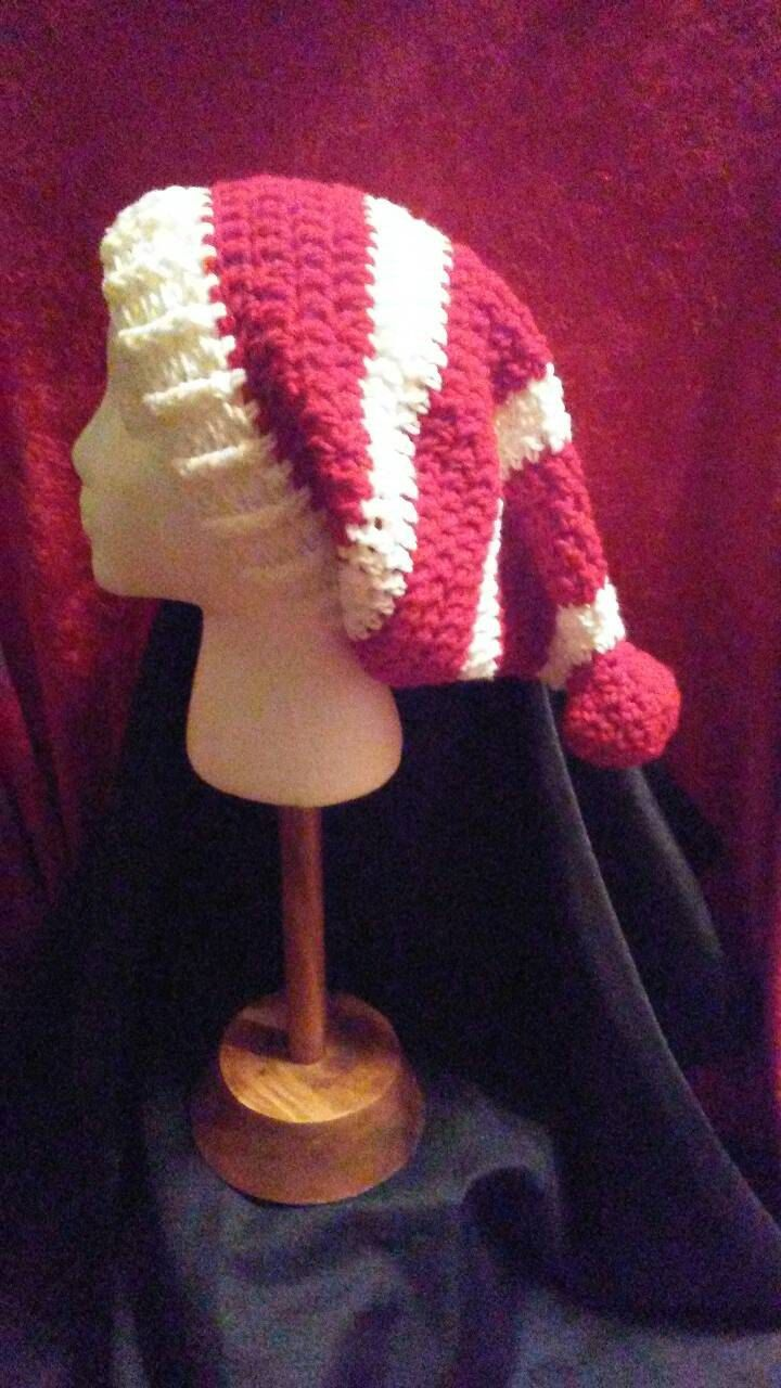 Red and White Crochet Slouchy Hat, Red and White-Striped Hat, Christmas Hat, Where's Waldo, Crochet Hat, Ski Hat, Ready to Ship, B64-16-1202 by NoreensCrochetShop on Etsy