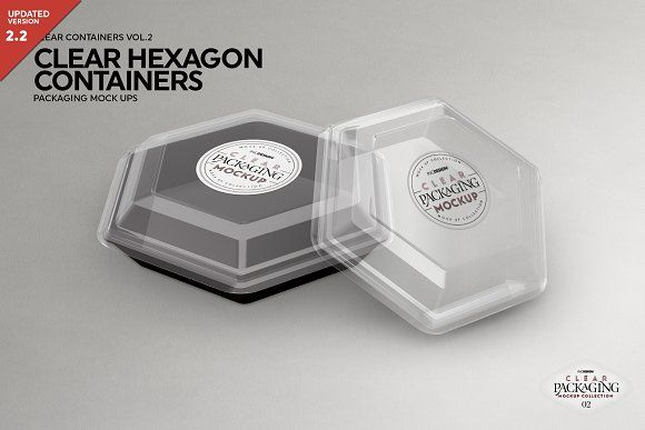 Download Clear Hexagon Containers Mockup Packaging Mockup Hexagon Clear Container