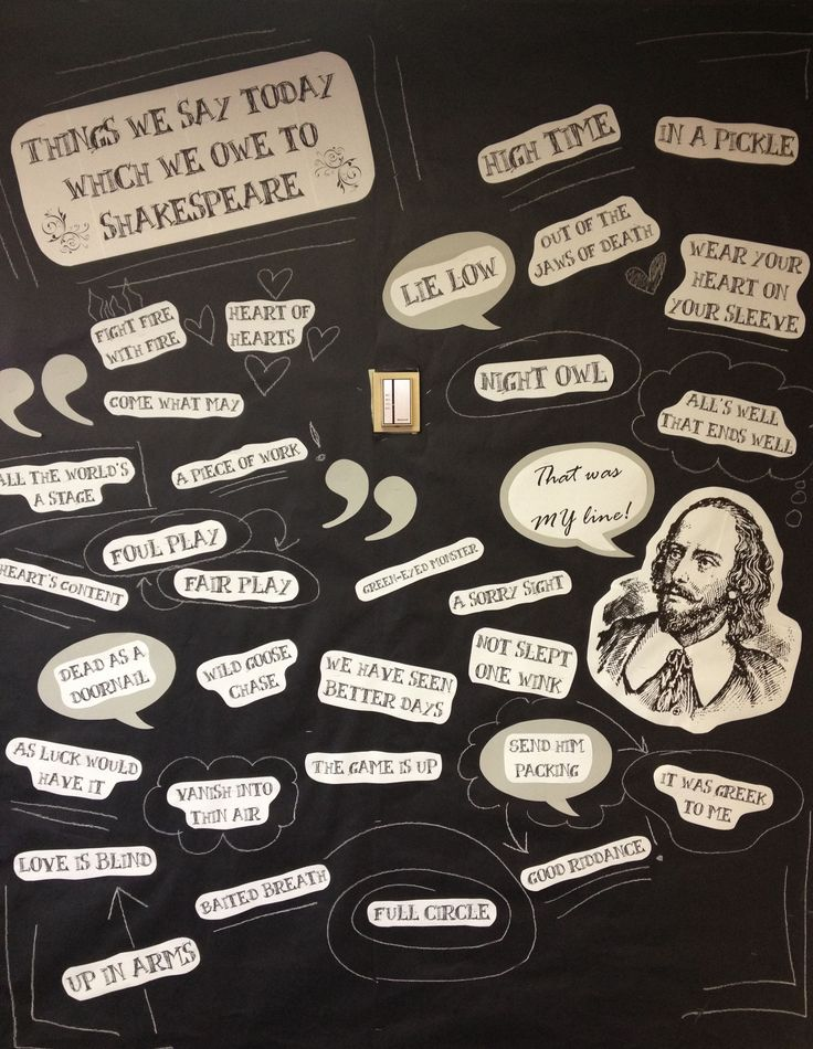 "My version of the original ""Things we say today which we owe to Shakespeare"" post from Becky To- great way to dress up a plain wall in the library! From nawasaka.tumblr.com"