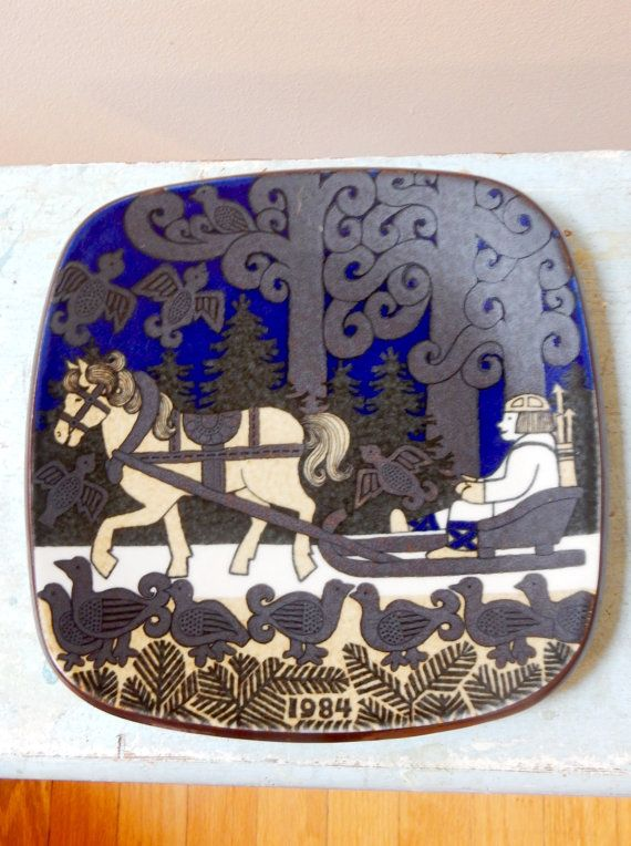 Arabia Finland Kalevala Legend 1984 Annual Plate Midcentury Scandinavian Fanciful Primitive Folkloric Design Iconic Vintage Wall Hanging