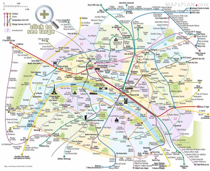 Paris top tourist attractions map Metro with favourite sights