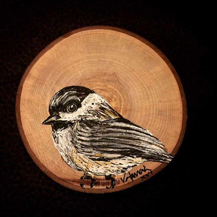 Mésange / Sparrow / Gorrión by José Carlos Valencia. Acrylic on wood #mixedmedia #art #contemporaryart #birdwatching