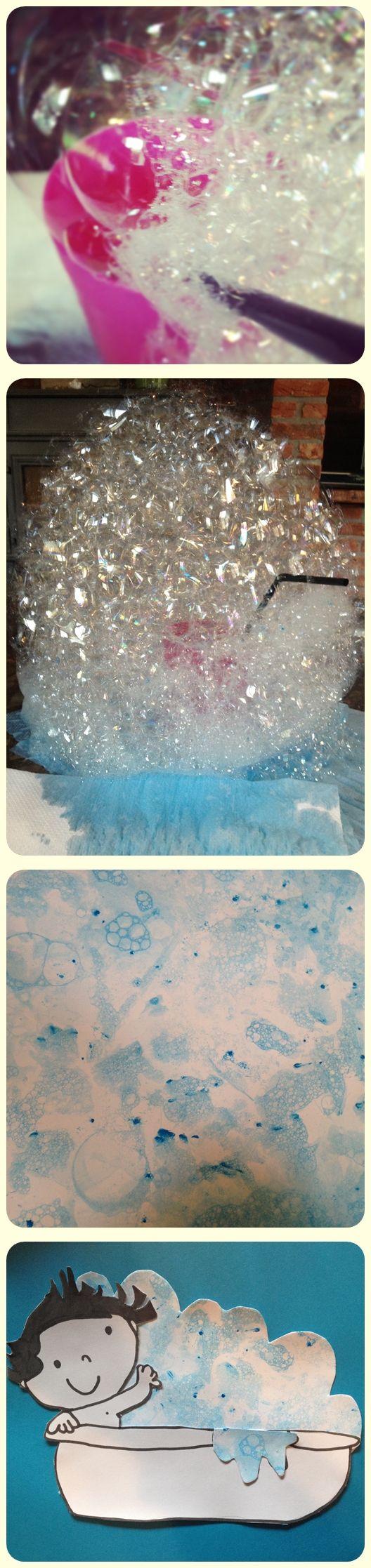 Schuim blazen (water en dreft in beker) met een rietje. Blauwe verf toevoegen en nog meer bellen blazen! Afdrukken maken op stevig wit papier. Knippen in de vorm van schuim. :-)
