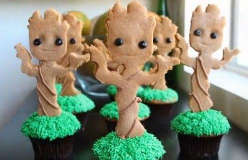 Cupcakes de baby Groot.