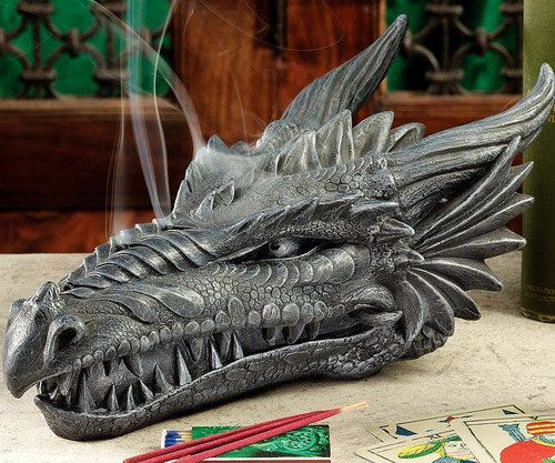 Want to keep your house smelling fresh but keep your grizzled reputation intact? Well then the Dragon Skull Incense Burner is here to help you - the incense smoke releases from this epic looking Dragon's nostrils allowing your house to smell and look great.