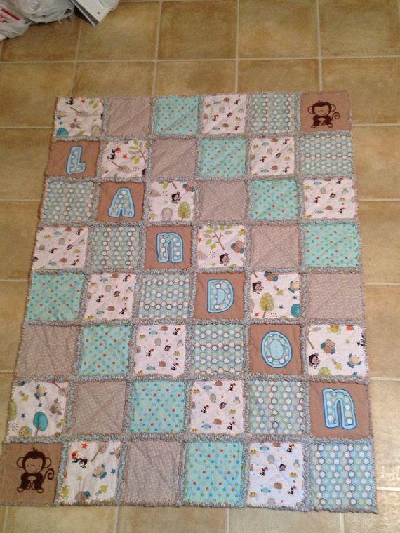 Baby boy rag quilt blue brown animals design