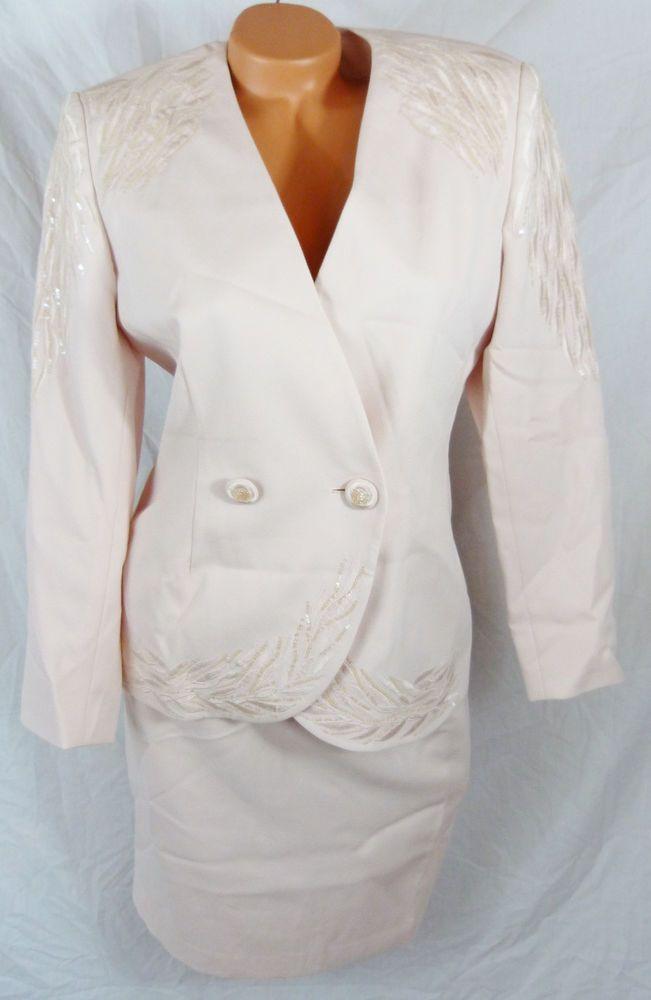 John Meyer Norwich Petite 8 Lght Pink 2 Pc Lined Skirt Suit Set 8P Beaded Church #JohnMeyer #SkirtSuit