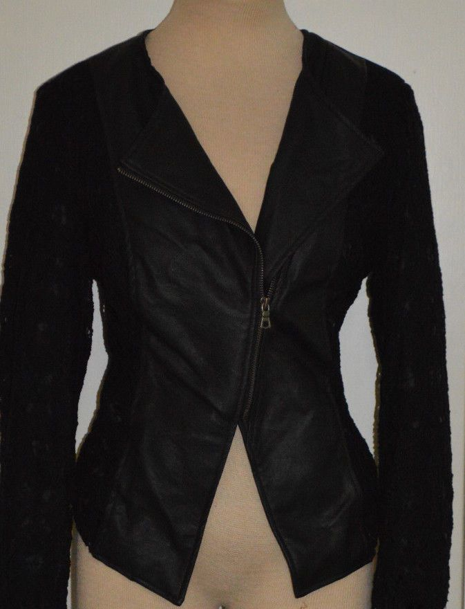Ladies Rue 21 Black Synthetic Leather Jacket with Lace Overlay Sleeves Juniors L #rue21 #Motorcycle