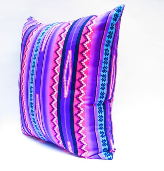 Pink and Purple Pillow Covers, Tribal Pillows Covers, Colorful Pillow Covers, Bohemian Decor, Boho Bedding, Aztec Cushion Cover 20x20 Inch. $30.00, via Etsy.