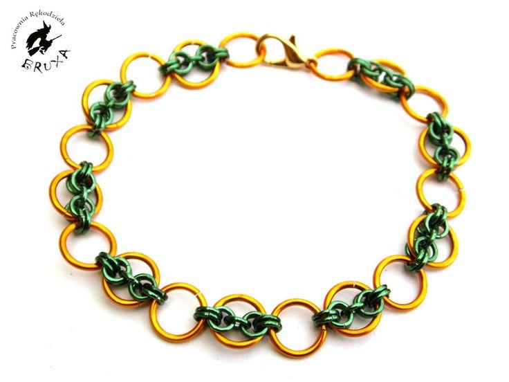 Bransoletka chainmaille pomarańczowo zielona, kolorowa bransoletka, lekka bransoletka, bransoletka zapinana
