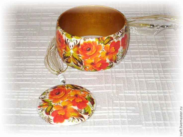 Купить Браслет и кулон из дерева В русском стиле. Декупаж, белый, оранжевый - комплект украшений