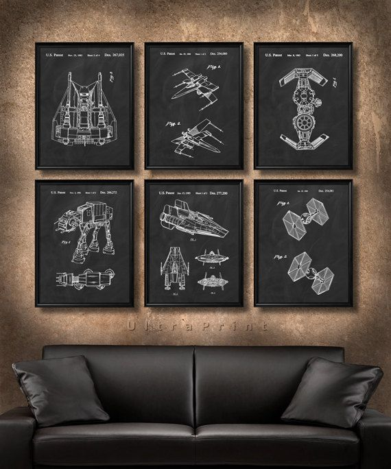 SET Of 6 Star Wars Art Posters Vintage Patent By UltraPrint