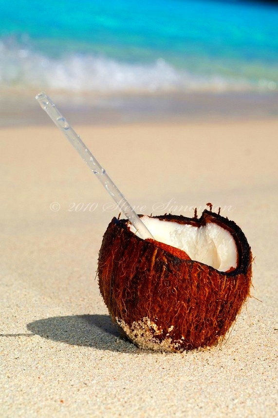 Drink Out Of A Coconut On Beach