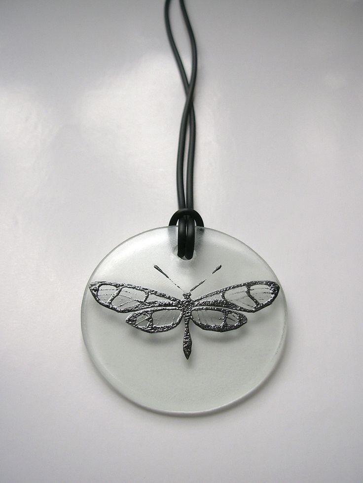 "The ceramic and glass pendant ""Black moth"""