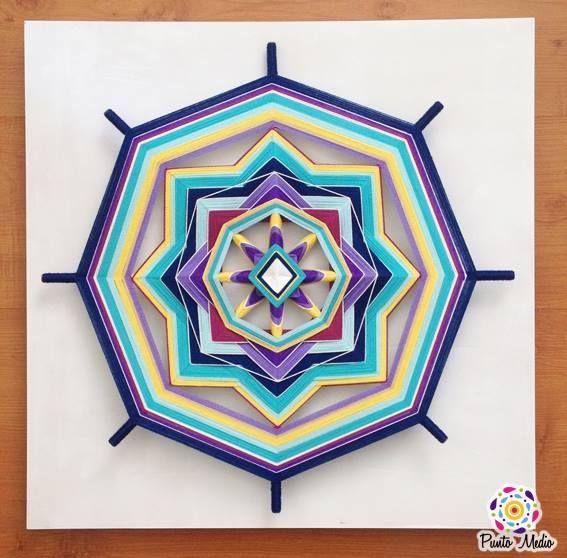 Mandala de la tranquilidad, la creatividad y la alegría. La combinación de morados, amarillos y azules estimula la voluntad y la firmeza.  www.facebook.com/Ptomedio
