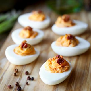 Honey Sriracha Deviled Eggs With Bacon - Powered by @ultimaterecipe