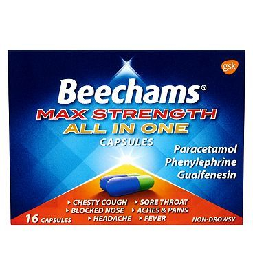 Beechams Max Strength All in One Capsules - 16 16 Advantage card points. For chesty cough, blocked nose, headache, sore throat, aches  pains  fever. See details below, always read the labelSuitable for: Adults  children over 12 years.Active ing http://www.MightGet.com/february-2017-1/beechams-max-strength-all-in-one-capsules--16.asp