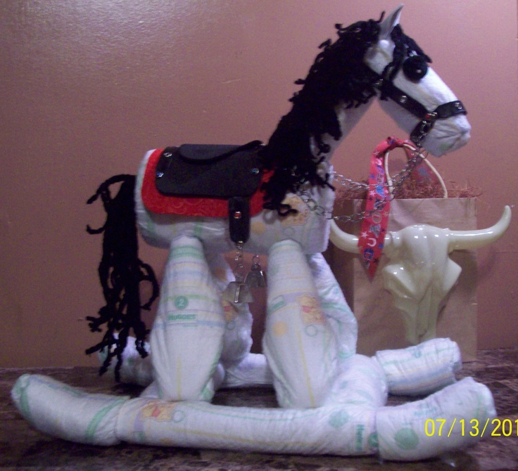 Diy Baby Shower Diaper Invitations Rocking Horse Diaper C...