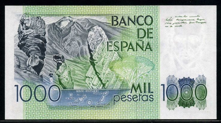Spain currency 1000 Pesetas banknote of 1979, Benito Perez Galdos. - Obverse: Portrait of the playwright and novelist Benito Perez Galdos, and Millennial Drago tree at Icod de los Vinos, Tenerife Island. Reverse: A view of rock formations, mountains - Teide National Park - Parque Nacional del Teide - a national park located in Tenerife, Canary Islands, Spain. Printed by Fábrica Nacional de Moneda y Timbre, Madrid.