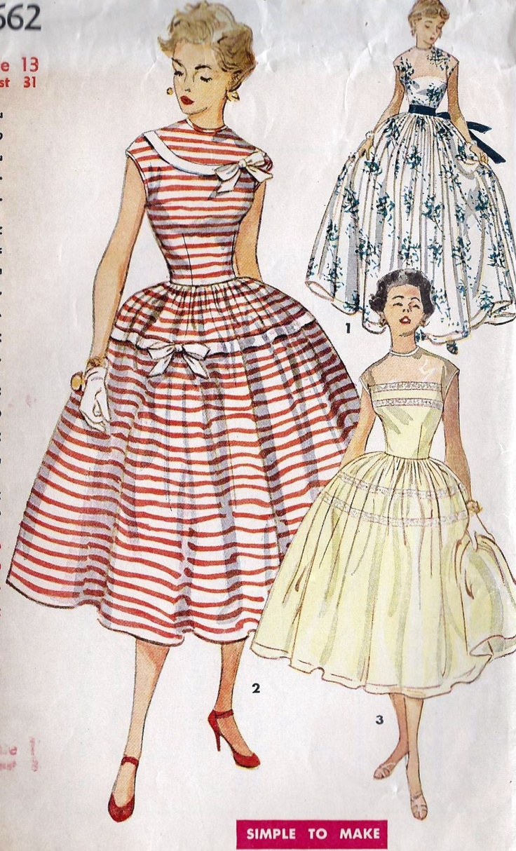 authentic handbags red white full skirt 50s party dress The stripped bow adorned dress is especially charming (Simplicity 4662). #vintage #sewing #pattern #1950s