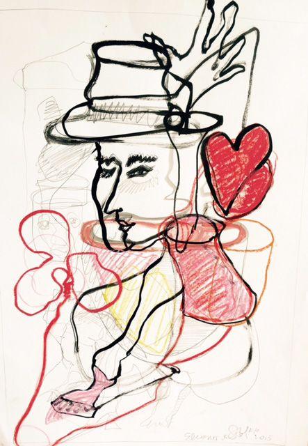 Drawing Conversazione dal cuore, 50x65cm, euro 600,-