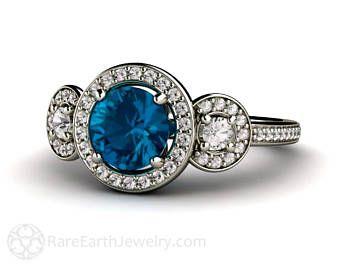 Londres topacio anillo de compromiso 3 piedra redonda de diamante Halo topacio anillo 14K o 18K oro contratación personalizada
