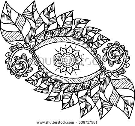 An abstract hand drawn floral pattern. Black and white. Coloring book.