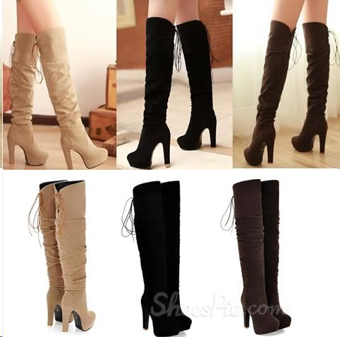 Fashionable Suede Chunky Heel Platform Knee High Boots