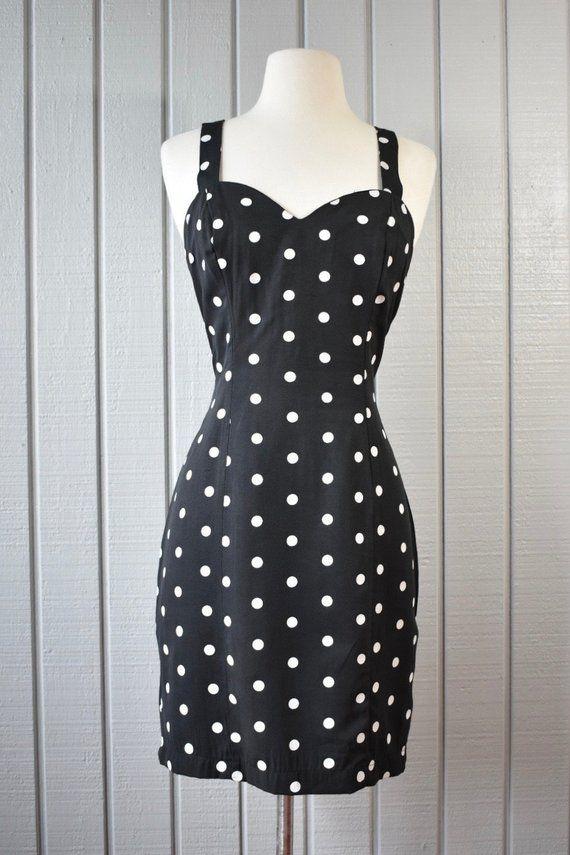 Polka Dot Mini Dress Minnie Mouse Costume Black White Polka Dot