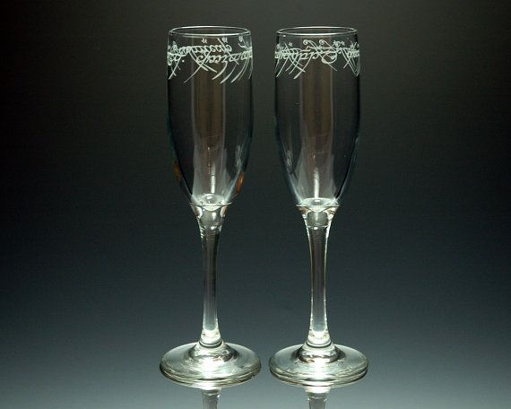 Lord of the Rings - ONE Ring Text - Etched Flute Set of 2 -- I want these for my wedding.