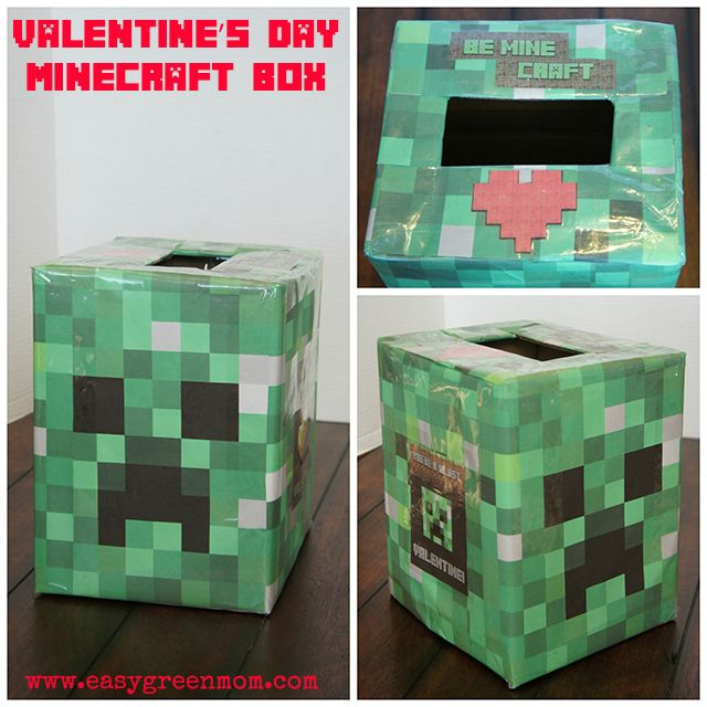 Easy Minecraft Valentine's Day Box and list of Free Valentines Printables