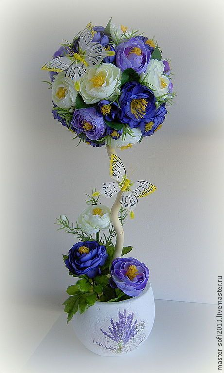 """Топиарий """"Волшебный вечер"""" - фиолетовый,сиреневый,камелии,топиарий,Дерево счастья"""