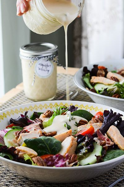 This homemade Roquefort salad dressing recipe rivals any bottled dressing on store shelves - it's creamy, tangy, and downright perfect!-happymoneysaver.com