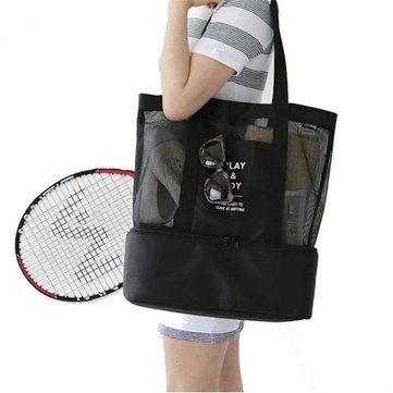 Honana DW-LB2 Handheld Lunch Bag Insulated Cooler Picnic Bag Mesh Beach Tote Bag Food Drink Storage at Banggood