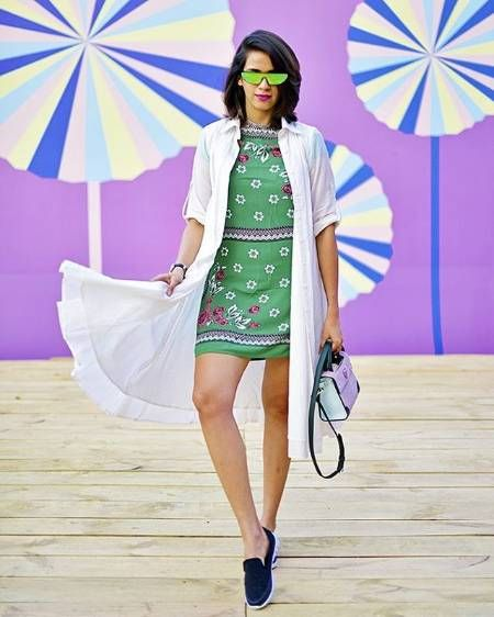 How to Balance Massively Printed Dresses?.. First, we love the electric green colour of #akanksharedhu's dress. It is so fresh and giving us major envy. On top of that the minimal yet beautiful print on the dress also makes it a piece to watch out for. But why we love this outfit is because of the long white shirt cape that completely balances the crazy colours of her dress. Adore it!.. Get the look at https://www.estrolo.com/whatstrending/Floral-Dress-Balance/