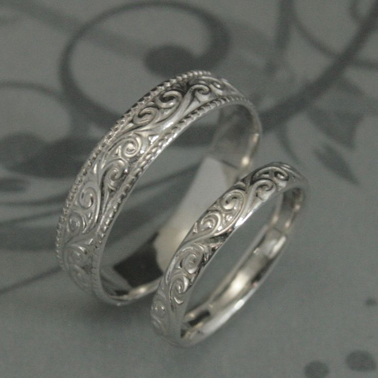 Awesome Solid K White Gold Flourish Wide Wedding Band by debblazer