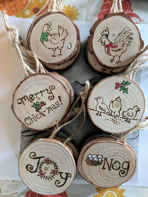 Mini Log Slice Chicken Ornaments