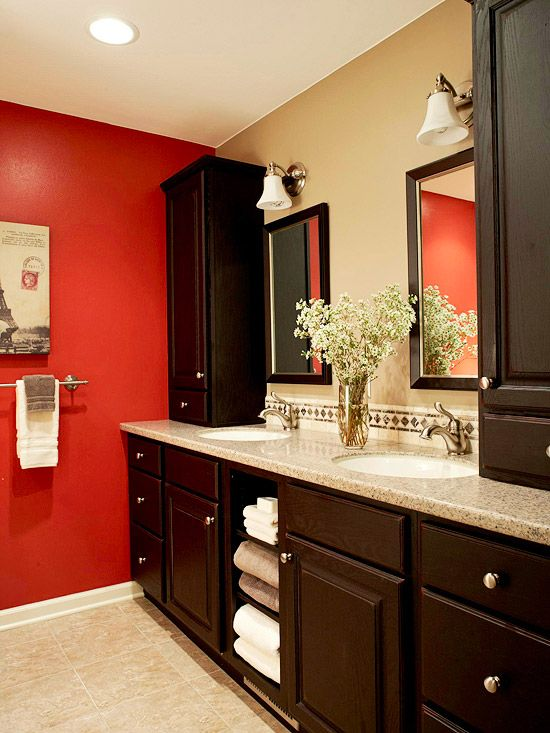 red bathroom: Bountiful Bathroom Storage