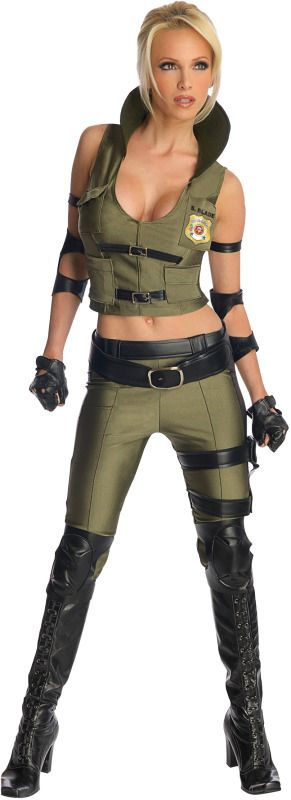 This Special Unit Military babe Sonya Blade will knock out the competition in this officially licensed Mortal Kombat costume.  The Sonya Blade costume top is made to look like a vest with a collar and two faux leather buckles on the front. Sonya Blade makes a great costume for Halloween, themed parties, comic con and perfect for a group costume when you head out with the other Mortal Kombat video game characters.