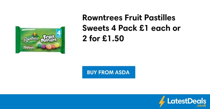 Rowntrees Fruit Pastilles Sweets 4 Pack £1 each or 2 for £1.50 at ASDA