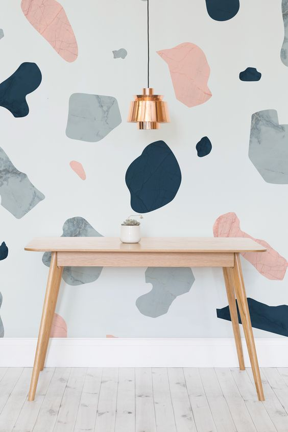 """Future Home Interior DIY your own terrazzo wall mural. Check out the latest """"I Spy DIYs"""" for more inspiration. Home Interior DIY your own terrazzo wall mural. Check out the latest """"I Spy DIYs"""" for more inspiration. Terrazzo, Deco Design, Wall Design, Floor Design, Design Design, Design Trends, Childrens Bedroom Wallpaper, Blog Deco, Decoration Table"""