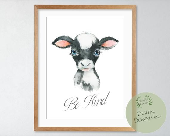 Cute Cow Face Nursery Animal Printable Art Nursery Wall Art Etsy In 2020 Animal Nursery Art Animal Nursery Digital Art Printables