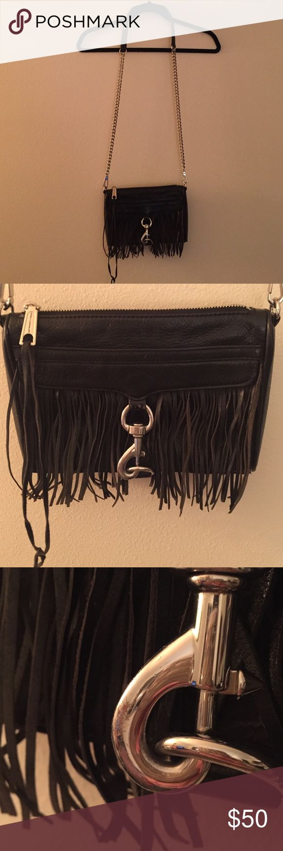 Rebecca Minkoff Mini Mac with Fringe Authentic Rebecca Minkoff mini Mac with fringe. Black leather, silver hardware. Worn condition as seen in pic of corner and the metal.  I loved this bag, it's so fun looking. Rebecca Minkoff Bags Crossbody Bags