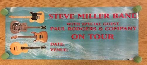 Original tour blank poster for The Steve Miller Band and Paul Rogers. 29.75 x 12 inches. Light handling marks and corner bend.