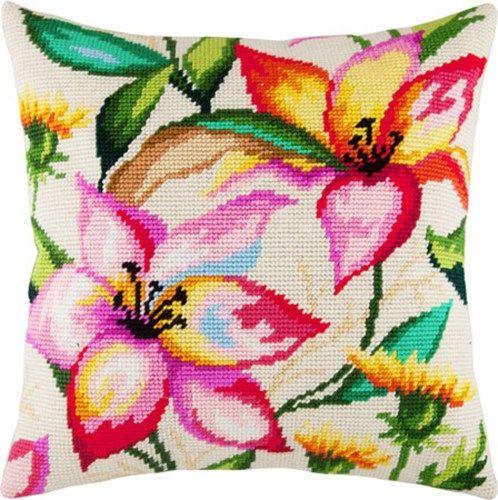 Watercolor flowers pillowcase cross-stitch DIY embroidery kit needlewo