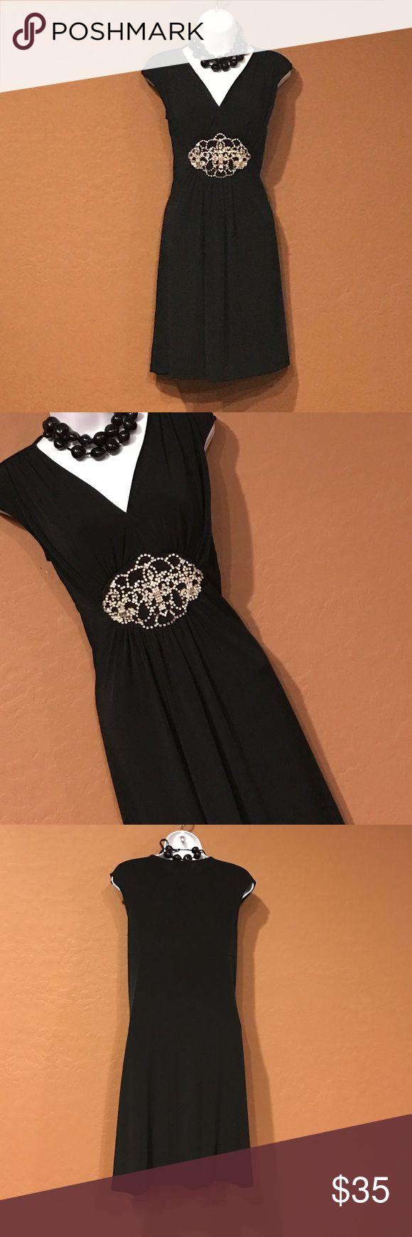 🆕WOT Violet Black Gold Cocktail Dress Never Worn, stretch, embellished gold rhinestones waist, cap sleeve. Violet Dresses